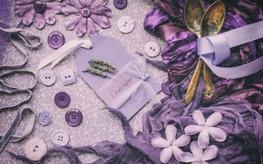 Picture purple, buttons, lavender, spoon
