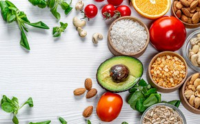 Picture tomatoes, avocado, nuts, figure, orange