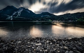 Picture Beautiful, Water, Evening, Mountains, Forest, Stones, Reflections
