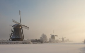 Picture winter, fog, mill, channel