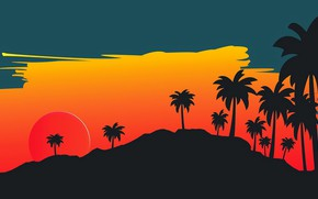 Picture The sun, Minimalism, Star, Style, Palm trees, Background, Style, Illustration, 80's, Synth, Retrowave, Synthwave, New …