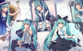 Picture girl, collage, Hatsune Miku, Vocaloid, Vocaloid, Hatsune Miku