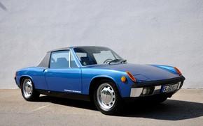 Picture blue, wall, Porsche, Volkswagen, Targa, 914, VW-Porsche, coupe-Roadster, 914/6