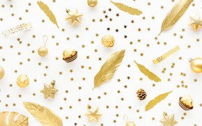 Picture white, balls, background, gold, holiday, Christmas, candy, New year, golden, Christmas, decor, decoration, Valeria Maksakova
