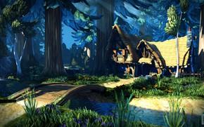 Picture forest, bridge, stream, house, Dwarfs Cottage