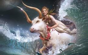 Picture Taurus, Bull, Girl, Fantasy
