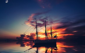 Picture the sky, clouds, sunset, night, rendering, ship, planet, sailboat, the evening, art, twilight, the ship, …