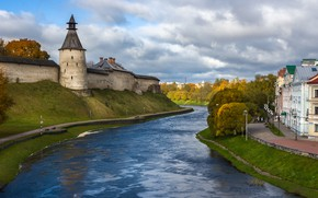 Picture road, autumn, the sky, clouds, trees, old, river, castle, street, shore, building, tower, home, dal, …