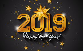 Picture gold, New Year, figures, golden, black background, black, background, New Year, Happy, sparkle, glitter, 2019