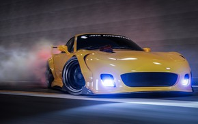 Picture Auto, Yellow, Machine, Speed, Mazda, Drift, Car, Render, Rendering, Mazda RX-7, Transport & Vehicles, Javier …