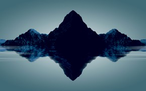 Picture the sky, water, mountains, reflection, rocks