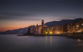 Wallpaper lights, coast, the evening, Italy, Liguria, Liguria, Camogli