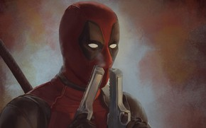 Picture gun, art, costume, comics, Deadpool, Deadpool