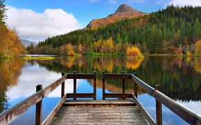 Picture autumn, forest, clouds, trees, mountains, river, pier, Scotland, Glencoe