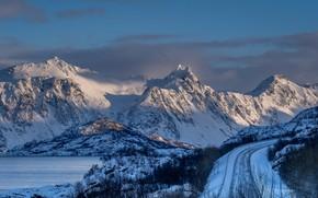 Picture winter, mountains, tops, Norway, snow, The Lofoten Islands, Lofoten
