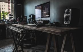 Picture music, workplace, acoustics, loft, компьютр