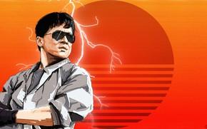 Picture Art, 80s, Retro, Jackie Chan, Synth, Retrowave, Synthwave, madeinkipish, Sergey Orlov, by Sergey Orlov, Fight …