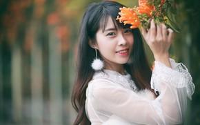 Picture look, girl, flowers, Asian, bokeh