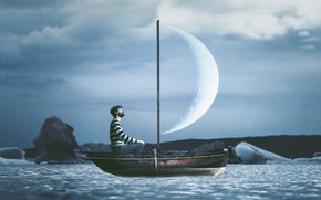 Picture the moon, boat, people, sail