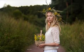 Picture trees, hair, Girl, blonde, flowers, wreath, Alisa Tarasenko, Ivan Sharp