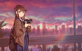 Picture girl, sunset, the city, the camera, Komi Can't Communicate