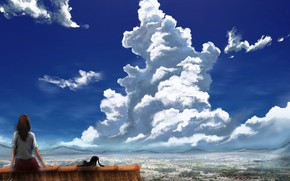 Picture roof, cat, the sky, girl