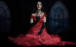 Picture girl, red, model, figure, dress, Mary