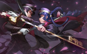 Picture girl, weapons, anime, art, guy, the battle, two