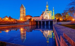 Picture the sky, water, trees, lights, reflection, the evening, pool, Germany, lights, Church, temple, Palace, Darmstadt