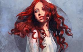 Picture Girl, Figure, Flower, Girl, Art, Art, Red, Flower, Beauty, Beautiful, Redhead, Redhead, Red hair, Artist, …