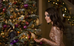 Picture girl, balls, hair, toys, tree, makeup, dress, Christmas, New year, beautiful
