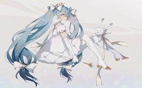 Picture girl, bows, Bunny, Hatsune Miku, Vocaloid, Vocaloid, Hatsune Miku