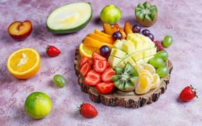 Picture berries, orange, kiwi, strawberry, grapes, fruit, mango, Mandarin, cuts