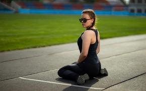 Picture girl, pose, glasses, treadmill, stadium, Maxim Curlew