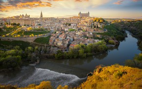 Picture river, building, home, panorama, Spain, Toledo, Spain, Toledo, Tagus River, The Tagus River