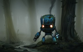 Picture Figure, Robot, Forest, Art, Robot, by Guilherme Freitas, Guilherme Freitas, Lost Robot
