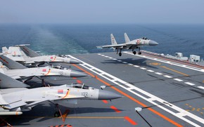Picture Fighter, Landing, The carrier, THE CHINESE NAVY, Shenyang J-15