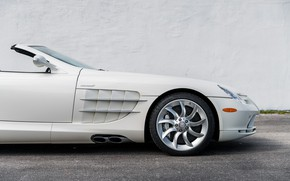 Picture Roadster, White, The hood, Exhaust, 2009, Mercedes-Benz SLR McLaren