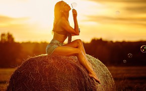 Picture field, summer, girl, pose, mood, feet, shorts, bubbles, hay, Kip, Svetlana Shevtsova, Alexey Petrov