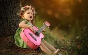 Picture guitar, girl, wreath, Larisa Korsikova, певунья