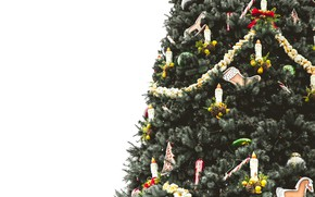 Picture winter, balls, holiday, balls, toys, candles, Christmas, white background, New year, tree, needles, garland, elegant, …