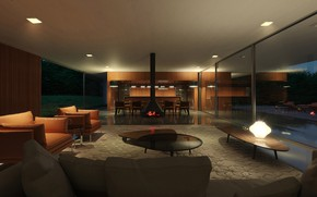 Picture furniture, lighting, fireplace, twilight, the room