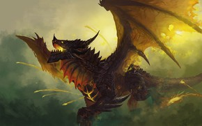 Picture Dragon, The game, Wings, World of Warcraft, WOW, Fantasy, Art, Art, Fiction, Deathwing, WarCraft, Deathwing, …