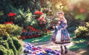 Picture summer, girl, light, flowers, nature, style, roses, garden, dress, outfit, horns, Asian, is, flowerbed, wreath, …