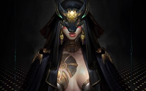 Picture girl, mask, fantasy, art, cloak, art