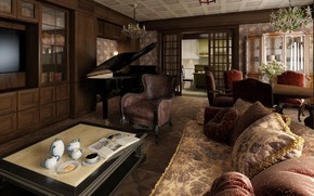 Picture design, comfort, interior, piano, living room, dining room, English style