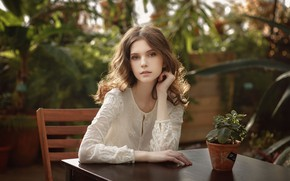 Picture girl, blouse, brown hair, brown eyes, photo, photographer, model, chair, lips, brunette, plant, table, sitting, …
