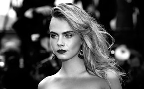 Picture pose, model, actress, black and white, hair, black and white, Cara Delevingne, Cara Delevingne