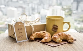 Picture gift, coffee, Breakfast, croissants, father's day