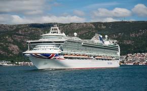 Picture landscape, ship, liner